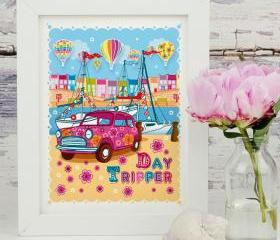 A4 Unframed Illustration Print 'Day Tripper'