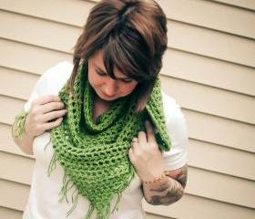 Crochet Shawl Scarf with Fringe