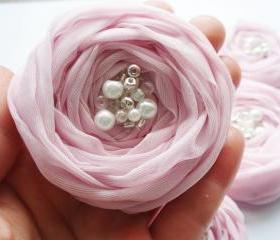 Pink Chiffon Roses Handmade Appliques Embellishments(5 pcs)