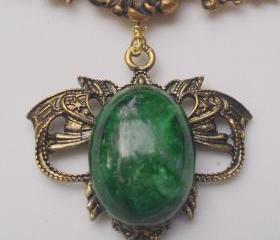 necklace with floral vintage front piece and malachite pendant, art nouveau