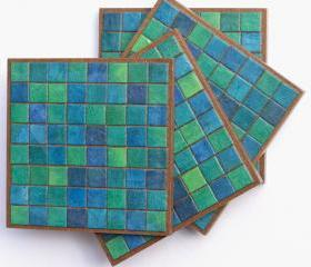 Coasters Handmade Paper Blue Green Mosaic Tiles