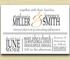 Miller and Smith Wedding Invitation (set of 10)
