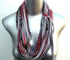 Boho Red Grey Brown Stripe Scarf Infinity Circle African Necklace Scarves Loop Eternity Fabric Jewelry Womens Mens Tribal Neckpieces