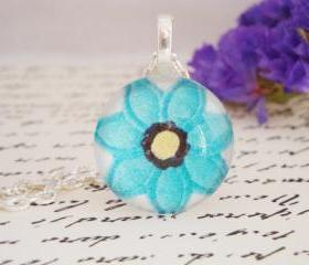 Gorgeous hand made blue flower glass pendant necklace
