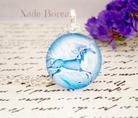 Hand made blue unicorn glass pendant