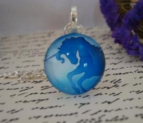 Hand made unicorn glass pendant