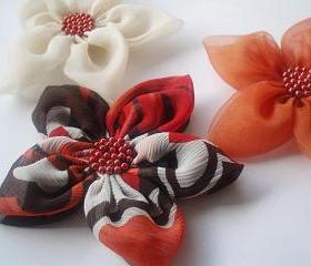Cream Orange and Textured Chiffon Flowers Handmade Appliques Embellishments(3 pcs)