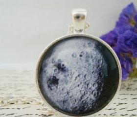 Galaxy XII- handmade glass pendant, moon