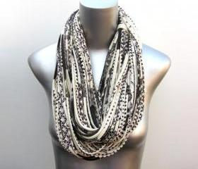 Cowl Chunky Necklace White Scarf w/ brown purple Burning Man Jersey Circle Scarves Womens Mens Infinity Summer Winter Organic Cream Large