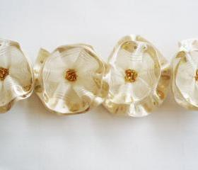 White-Ivory-Golden Flowers Handmade Appliques Embellishments(4 pcs)