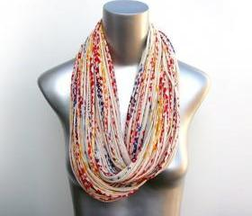 Womens Necklace Infinity Winter Scarf Chunky Circle Scarves Burning Man Cream red blue Yellow Scarf Cotton Mens Jewelry Large Eternity