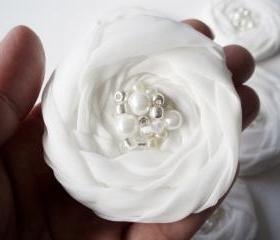 White Roses Handmade Appliques Embellishments(5 pcs) MADE TO ORDER