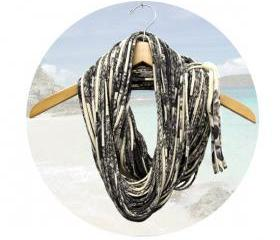 Womens Infinity Scarf Tribal Burning Man Eco-Friendly Clothing Fabric Circle Eternity Necklace - Mens Scarves Organic w/ Dark Grey