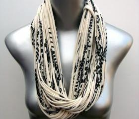 Cream Black Chunky Infinity Scarf Summer Loop Womens Necklace Jersey Burning Man Circle Scarves Mens Summer Winter Eco-Friendly Clothing