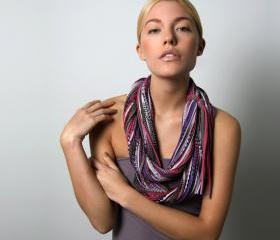 Infinity Brown Scarf Circle Burgandy Eggplant Purple Necklace Burning Man Jersey Scarves Womens Mens Loop Spring Summer Winter Chunky