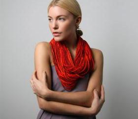 Necklace Cotton Tangerine Tango Apple Red Chunky Infinity Winter Scarf Necklaces Men Burning Man Womens Jersey Circle Scarves Summer Orange