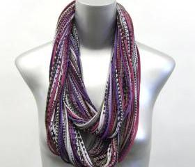 Eggplant Burning Man Infinity Scarf Burgandy Purple Black Brown Cowl Mens Womens Necklace Jersey Circle Scarves Cotton Winter Eternity