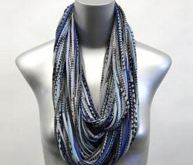 Scarf Mens Necklace Jersey Circle Scarves Saphire Blue Cowl Burning Man Womens Infinity Spring Summer Winter Chunky Eternity Cotton Large