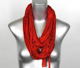 Apple Red Black Mens Necklace Loop Infinity Scarf Jersey Circle Burning Man Scarves Womens Loop Cotton Unique Summer Winter Chunky Eternity