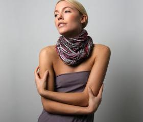 Eternity Scarf, Burgundy Light Brown Grey Infinity Scarf, Women Men, Winter