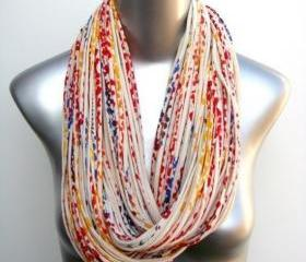 Chunky Necklace Infinity Scarf Burning Man Cream Red Blue Yellow Jersey Boho Circle Scarves Womens Mens Loop Summer Winter Eternity Large