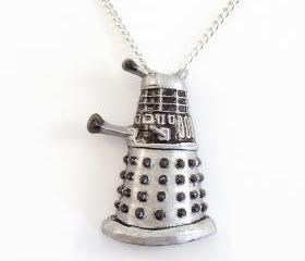 Silver Dalek Pendant and Necklace
