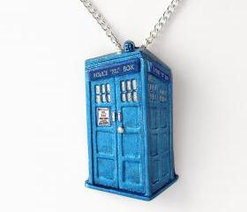 Metallic Blue Tardis Pendant and Necklace