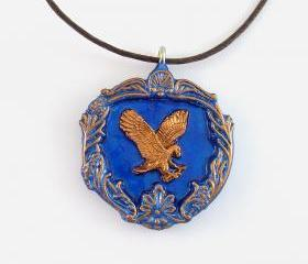 Ravenclaw House Crest Pendant and Brown Cord Necklace