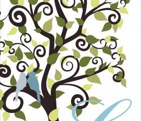 Personalized wedding Signature Tree 18x24 100 signatures, wedding guest book alternative 
