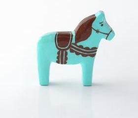 Blue Moon Ice Cream Clay Pony Dala Horse Figurine