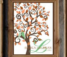 Custom Personalized Wedding Signature Tree 20x28 150 signatures , Wedding guestbook alternative