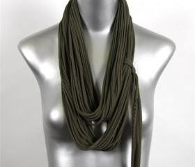 Bohemain Jewelry Military Army Green Fahion Fabric Infinity Scarf Cotton Mens Jersey Scarfs Fall Circle Fiber Hipster Necklace Scarves Women