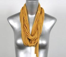 Honey Gold Bohemian Jewelry Fabric Womens Mens Cotton Yellow Summer Scarf Mustard Jersey Necklace Circle Scarves Fabric