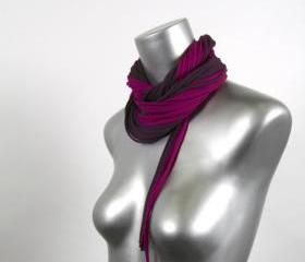 Cotton Scarf Bohemian Jewelry Fabric Womens Necklace Mens Eggplant Purple Infinity Circle Scarves Necklush