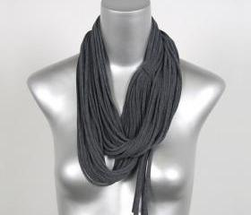 Infinity Scarf Grey Cotton Mens Womens Necklace Scarves Summer Loop Charcoal Fabric