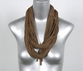 Brown Scarf Summer Scarf Infinity Scarf Womens Cotton Brown Circle Scarves Eternity Fabric Necklace Mocha