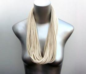 Fabric Necklace Womens Mens White Scarf Cotton Fabric Necklace Infinity Scarves Organic Cream