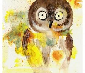 Owl - 8x10 Fine Art Print adorable colorful watercolor painting speckled barn owl interior wall decor bird nature Canadian Oladesign