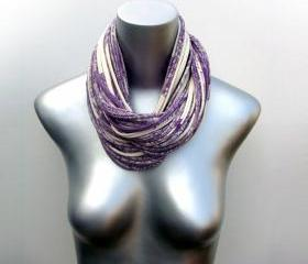 Eggplant Infinity Necklace Summer Scarf Purple Cowl Fabric Jewelry Winter Mens Womens Neck Scarves Eternity Circle Chunky Jersey Cotton