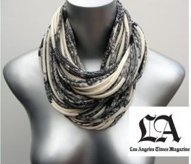 Womens Infinity Scarf Thick Chunky Cowl Necklace Fabric Jewelry Winter Summer Mens Scarves Eternity Circle Jersey Cotton Natural w Dark Grey