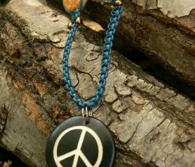 Leather macrame necklace with peace sign pendant