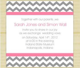 Gray and Pink Chevron invites (set of 10)