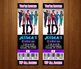 One Direction BIRTHDAY INVITATION TICKET CARD CUSTOM INVITES PARTY printable diy