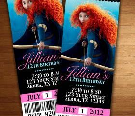 BRAVE Merida BIRTHDAY INVITATION TICKET CARDS CUSTOM INVITES PARTY printable diy