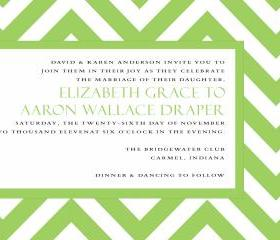 Green Chevron Wedding Invitation (set of 10)