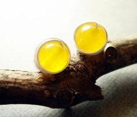Citrus Lemon Jade Sterling Silver Studs