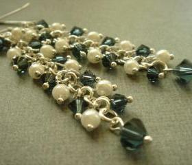 Long Clusters Something Blue Swarovski Crystal and Pearl Earrings