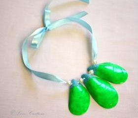 Bright neon green painted shell necklace