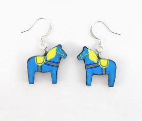 Blue and Yellow Swedish Dala Horse Earrings