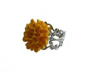 Yellow Flower and Silver Filigree Adjustable Ring